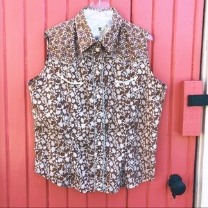 Western Sleeveless Top Floral, Glass Snap Buttons